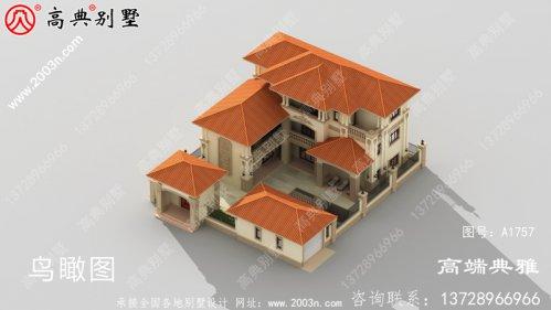 农村实用三层楼外观照片+施工设计图一套
