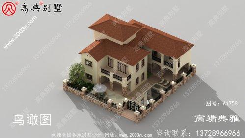 带院子的欧式三层农村别墅图纸带阳台