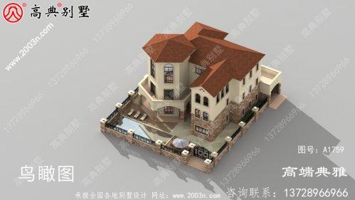 新设计的三层乡村别墅,带车库和露台。