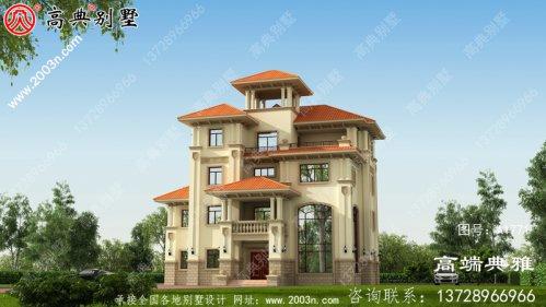 四层欧式别墅自建建筑设计图,效果图及全套施