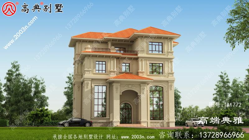 大户型欧式别墅建筑设计图,有效图和一套施工图