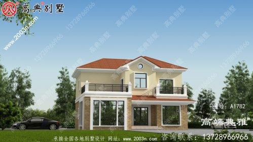 美丽实用的二层新农村别墅设计图纸,占地134平