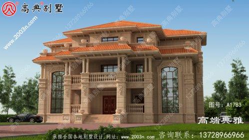 欧式石材三层新农村大别墅设计图