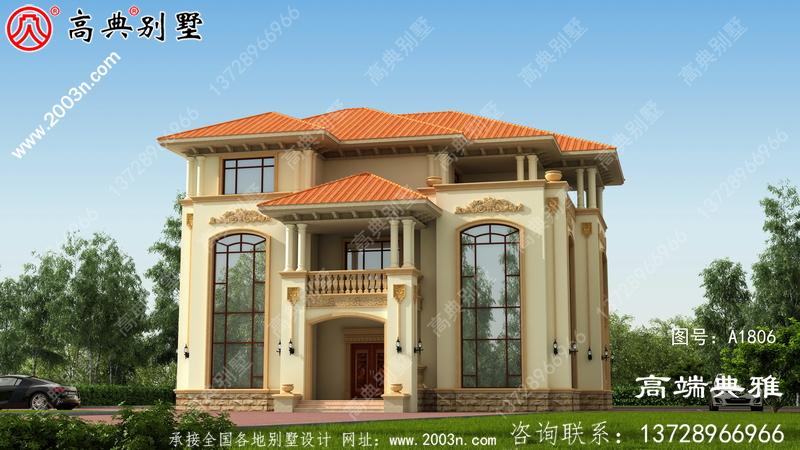 小复式三层别墅设计照片及整套工程图纸,大客厅空心