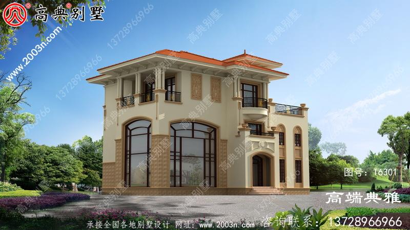 复式三层别墅,带有欧洲建筑风格。