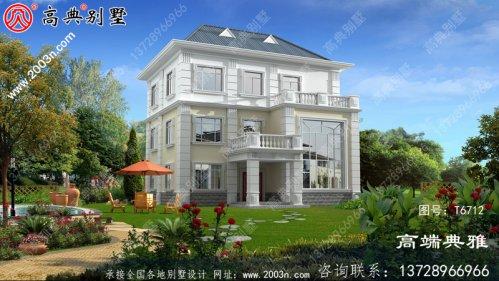 三层美式设计图纸及设计效果图,别墅设计图选