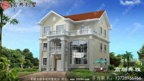 三层美式别墅外观设计效果图,带