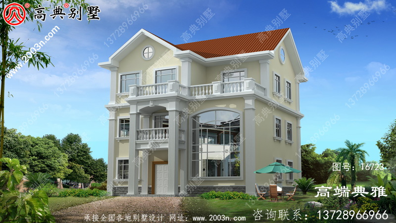 三层美式别墅外观设计效果图,带复式大厅。