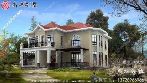 二层美式别墅房屋设计图,大客厅宽敞光亮