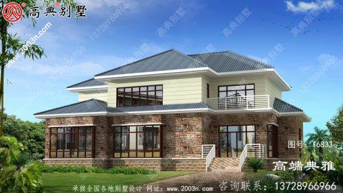 新农村建设二层建造房屋设计图,占地面积199平