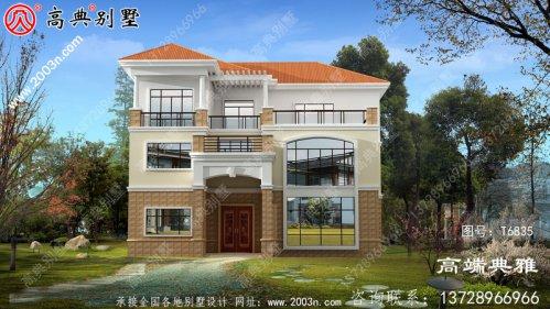 新农村三层自建住宅设计面积182平方米,施工简