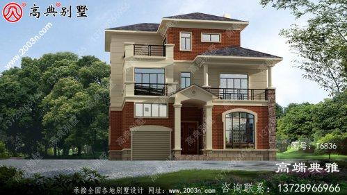 新农村简欧三层住宅设计图,占地154平方米