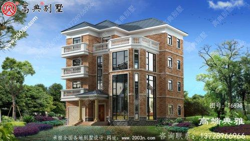 乡村四层独栋别墅工程施工设计图及设计效果图