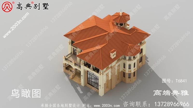 农村大户型欧式四层别墅工程设计图纸及效果图