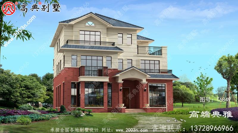 167平方米三层别墅设计图,欧式风格带外观效果图
