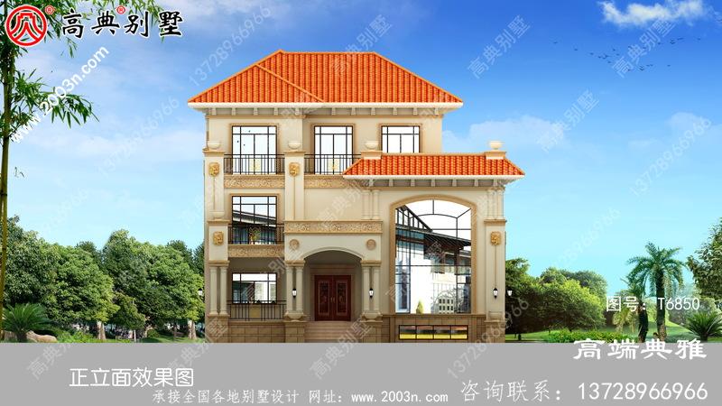 乡村自建欧式三层房屋设计图纸,外型简易大气
