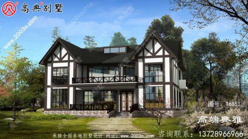 美式两层住宅的设计图纸外观简洁大方。