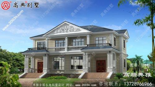 两层双拼小别墅外观设计效果图