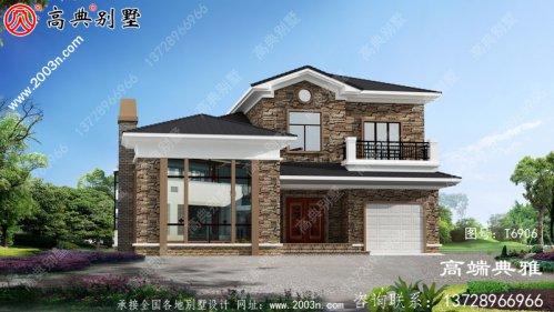 乡村二层房屋设计图纸,设计效果图+整套施工图