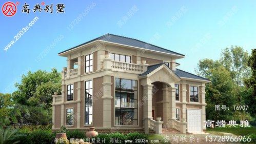 欧式三层住宅设计图纸、效果图+全套施工图带车