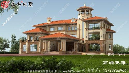 豪华欧式大户型三层别墅设计图纸和设计效果图