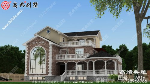 美式风格的三层别墅设计图和效果图,农村自主