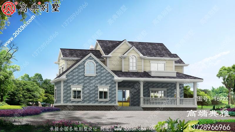 乡村自建美式别墅,二层别墅效果图及设计图纸