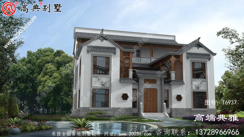 大户型中式子三层别墅房屋设计图纸,占地面积352平方米