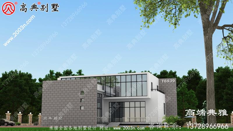 乡村二层带复式现代别墅设计图,带外型实际效果照片