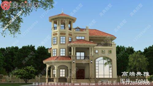 欧式大户型三层别墅的设计图占地206平方米。