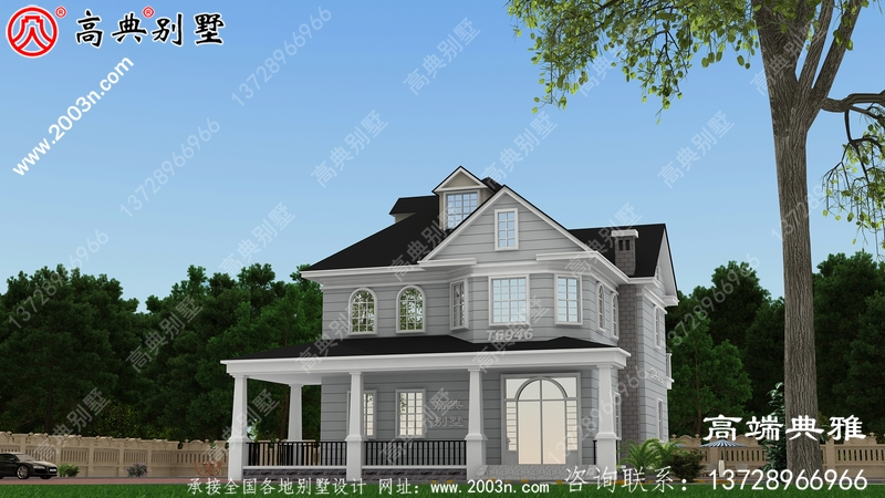 带飘窗的农村二楼建筑设计,带外观效果图