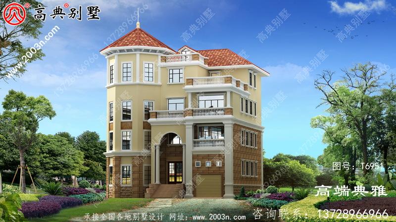 四层法式装修风格的农村自建房屋造型设计,每层都配飘窗