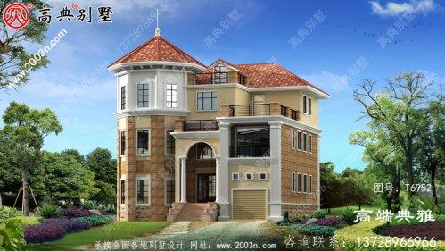 豪华法式四层别墅外观设计效果图风格,带车库
