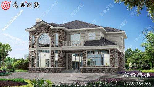 精美二楼美式别墅外观设计效果图