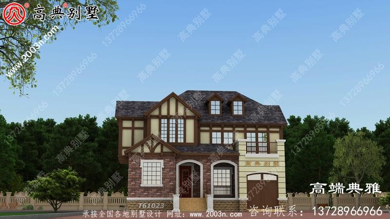 美式两层别墅设计图及欧式效果图,工程造价30万内