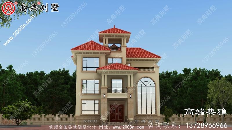 三层欧式别墅设计图纸胶带效果图,施工方案一套