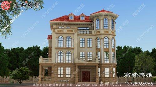 乡村自建欧式三层楼房设计图,带外型设计效果
