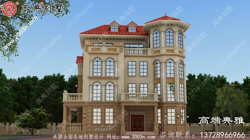 乡村自建欧式三层楼房设计图,带外型设计效果图