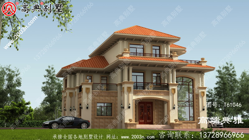 三楼复式别墅设计方案,设计图+效果图一套