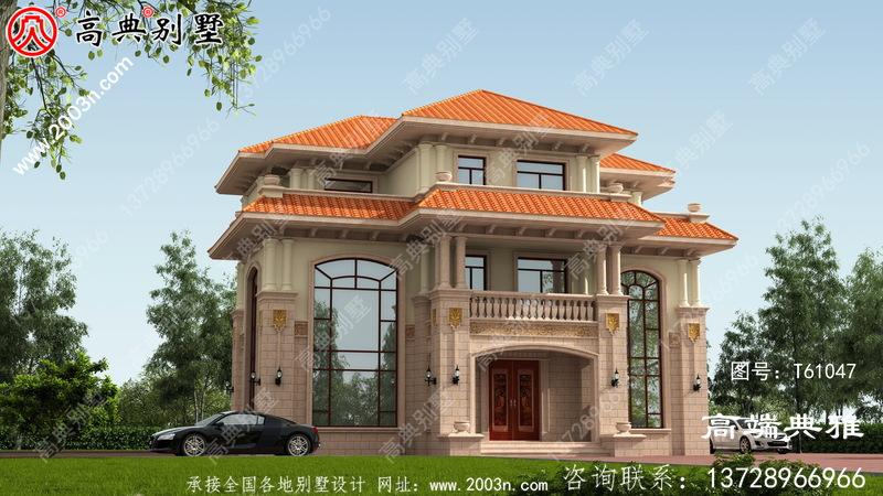 乡村三层带阳台,双复式大厅房屋设计图,含外型照片