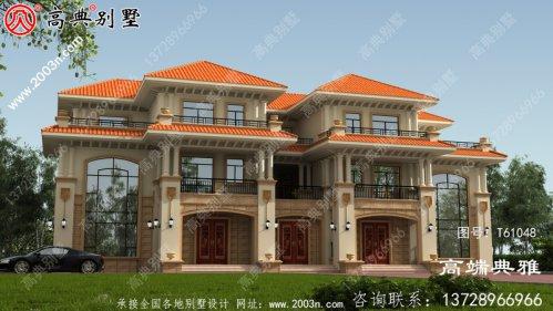豪华欧式双拼三层住宅设计,包括外观图片