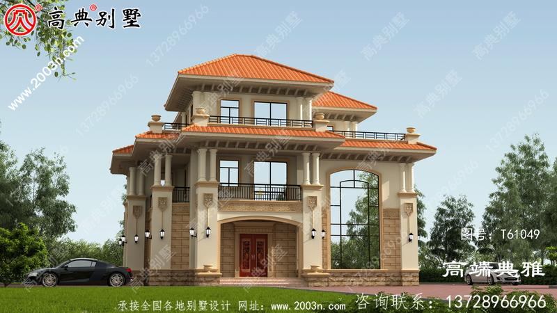 农村三楼有露台,有车库房屋设计图,包括外观照片