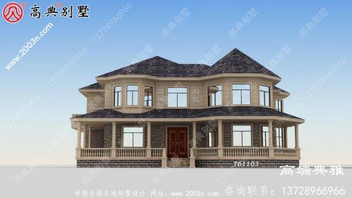 美式大户型别墅设计为二楼自建,外观简洁大气