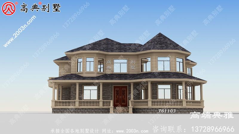 美式大户型别墅设计为二楼自建,外观简洁大气。