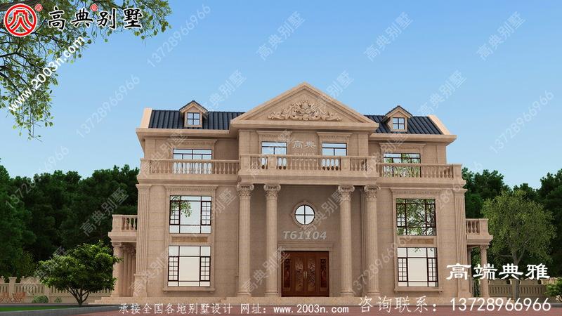 豪华欧式石材三层别墅的设计图外观和效果都非常漂亮。