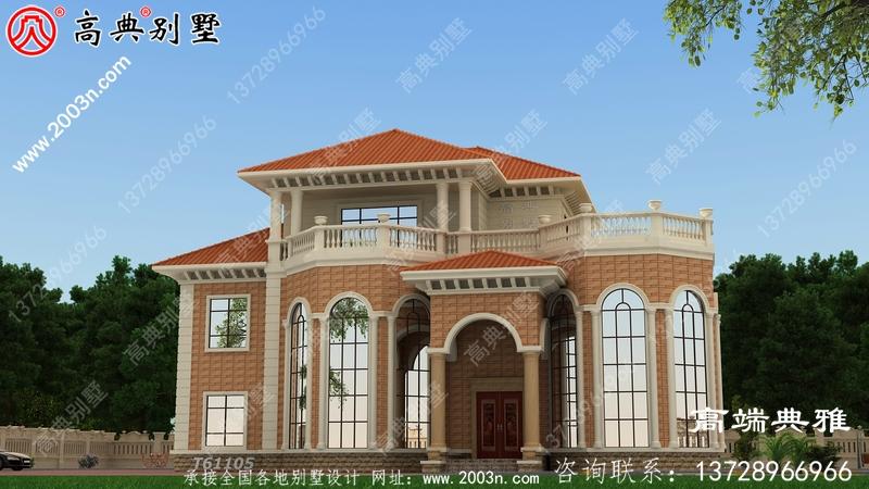 农村法式三楼别墅设计图,外观效果图优美