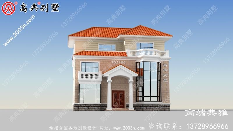 新农村建设三层别墅设计图纸,含设计效果图