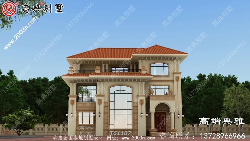 带露台的新农村三层别墅设计图,包括效果图