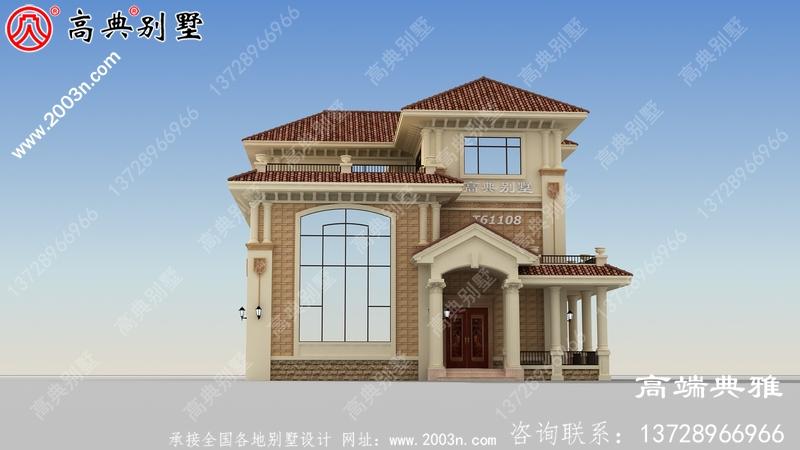 带复式大厅设计的欧式三层别墅设计图纸、效果图