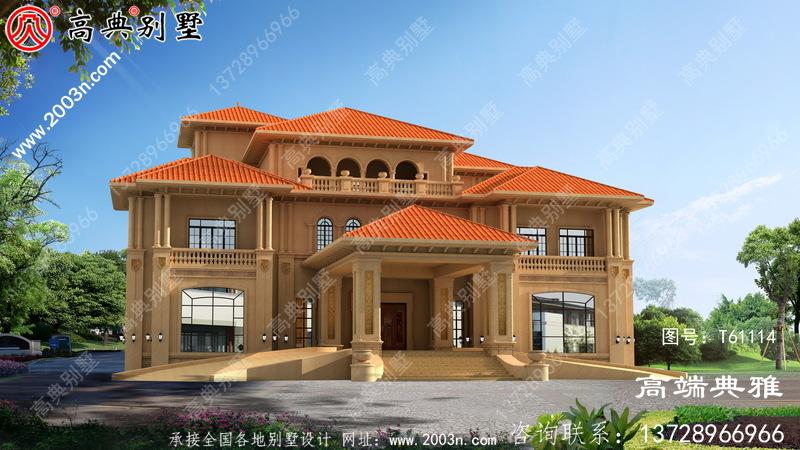 豪华大户型三层楼别墅设计图纸及效果图占地688平方米